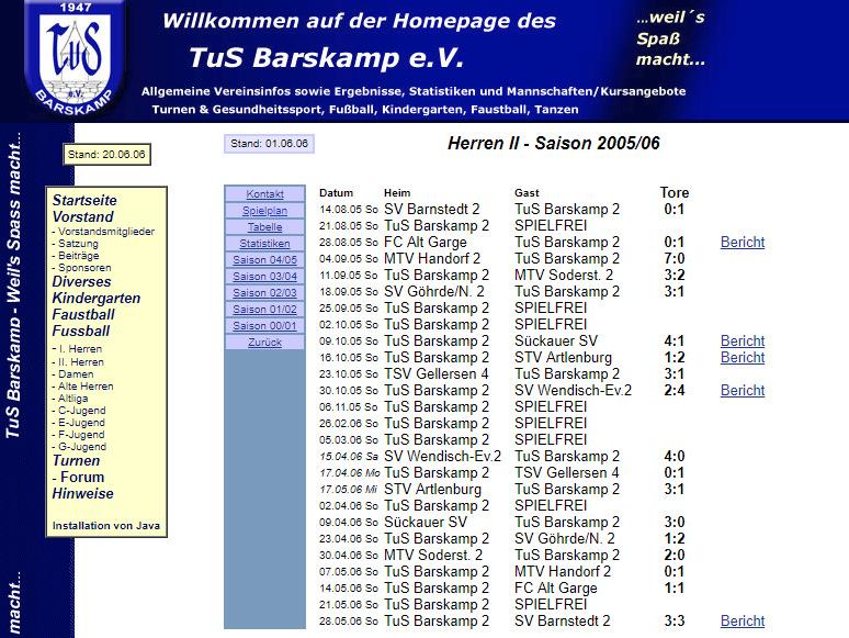TuS Barskamp Archiv Seite bis Jahr 2008